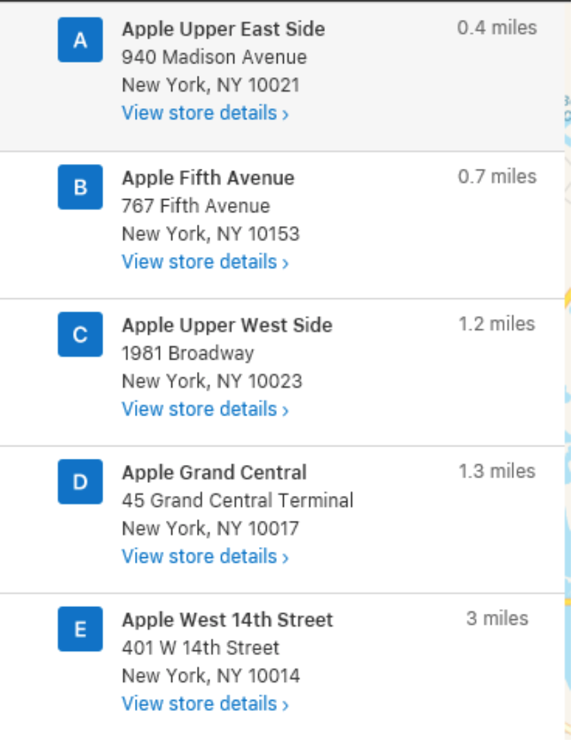 graphic showing list of Apple store locations