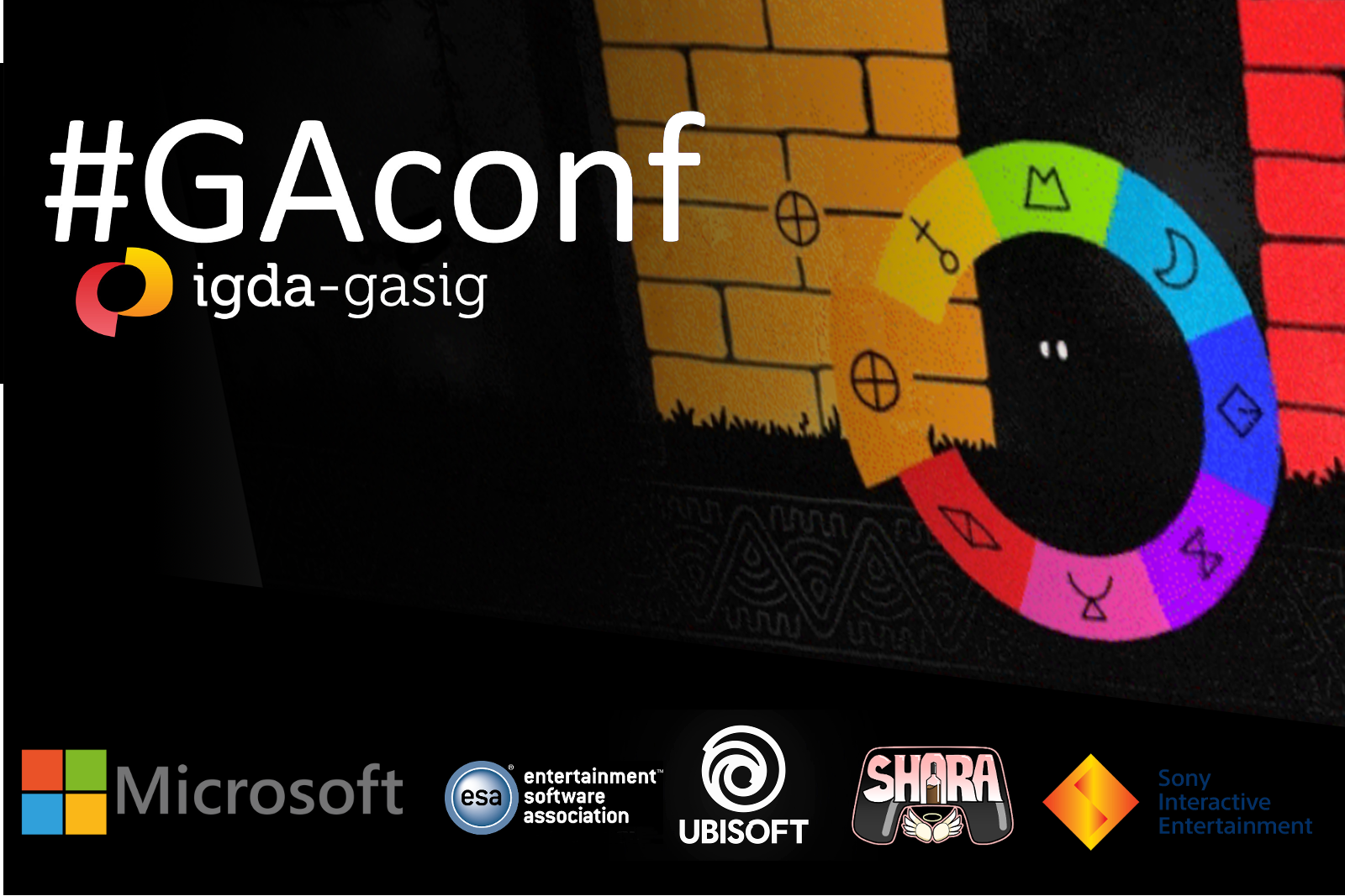 GAconf banner image with sponsors and video game background