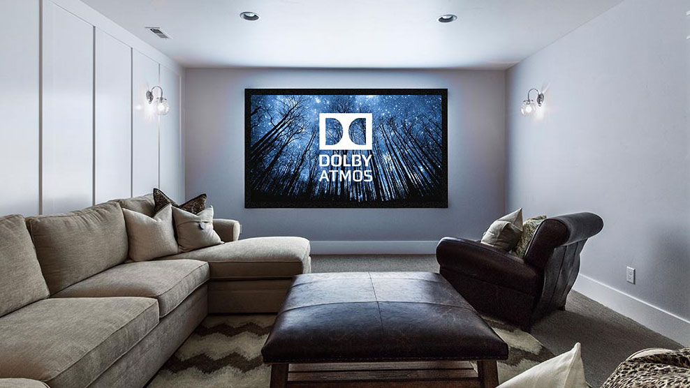 Colour photo of Dolby Atmos on large screen in home lounge