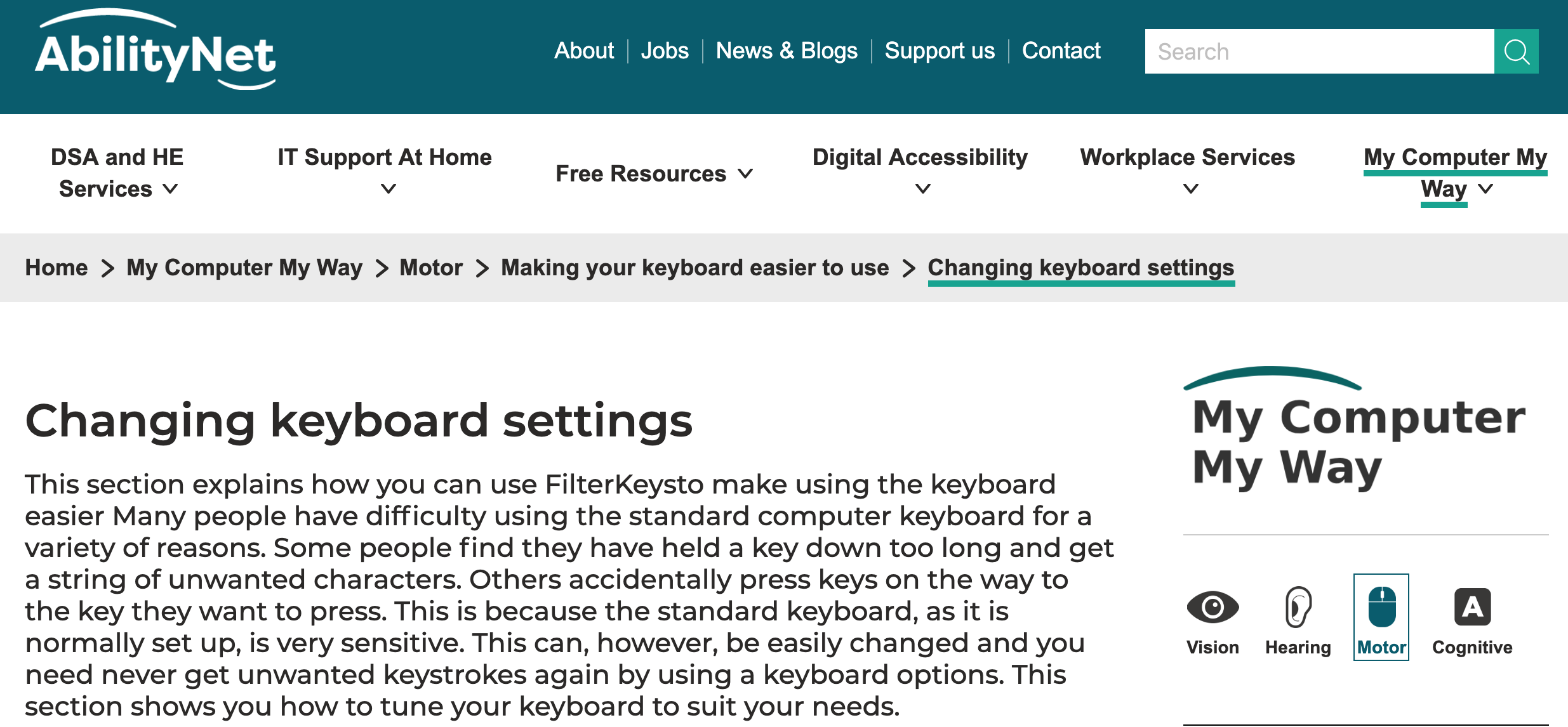A screenshot of My Computer My Way website. Text on screen reads Changing keyboard settings