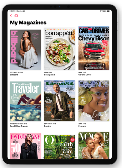 News+ app in use on an ipad showing selection of magazines available to read