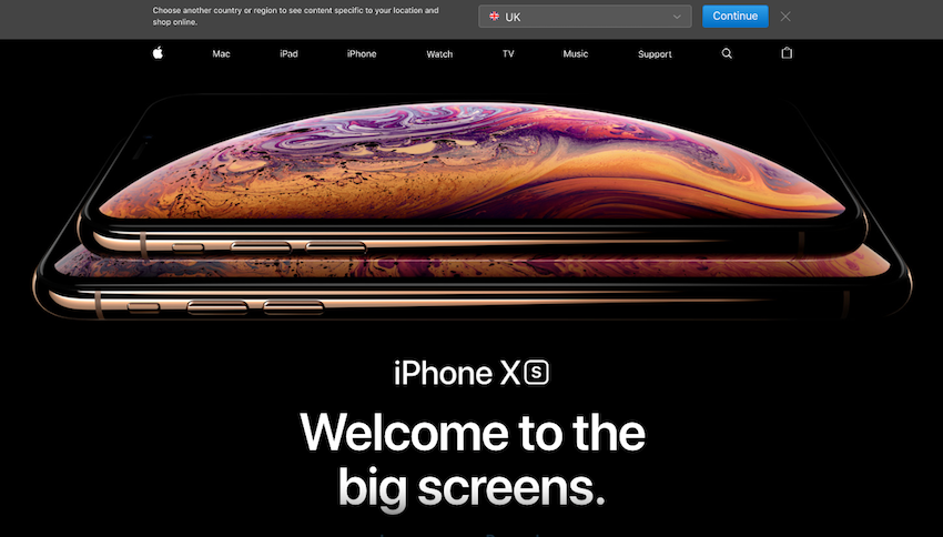 apple website screenshot with the message 'welcome to the big screens' introducing their new iPhones