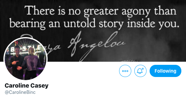 Screenshot from Caroline Casey's Twitter profile