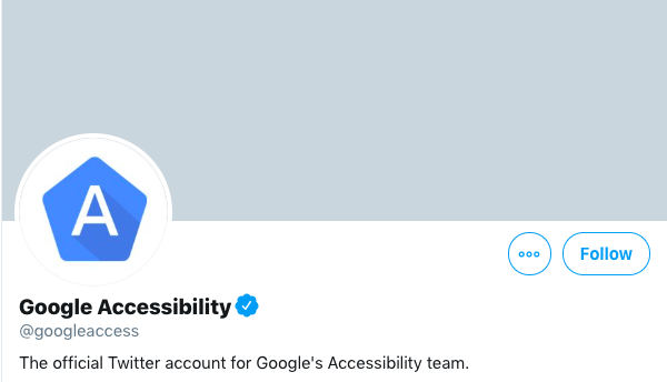 Screenshot from Google's accessibility account