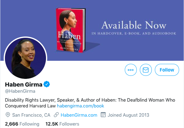 Screenshot from the Twitter account of Haben Girma. It features an image of her printed autobiography