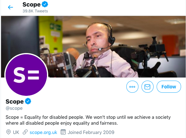 Header from home page of Scope's Twitter account