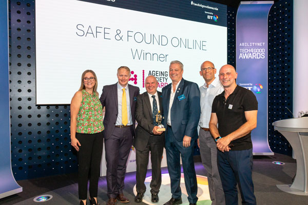 Safe & Found Online collect their award at the Tech4Good Awards 2019