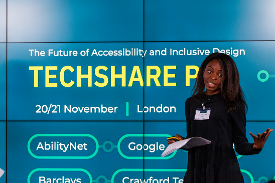 Colour photo of Anel Touchet presenting at TechShare Pro