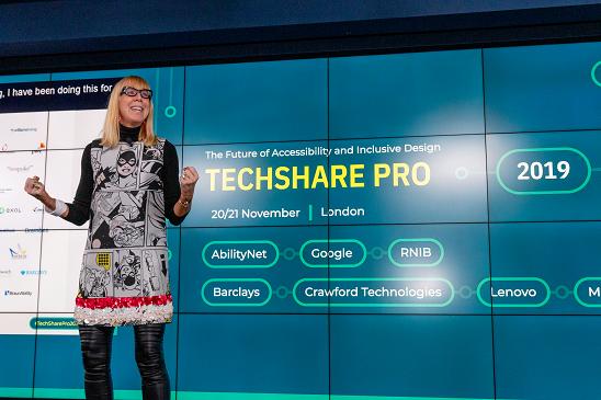 Colour photo of Caroline Casey presenting at TechShare Pro