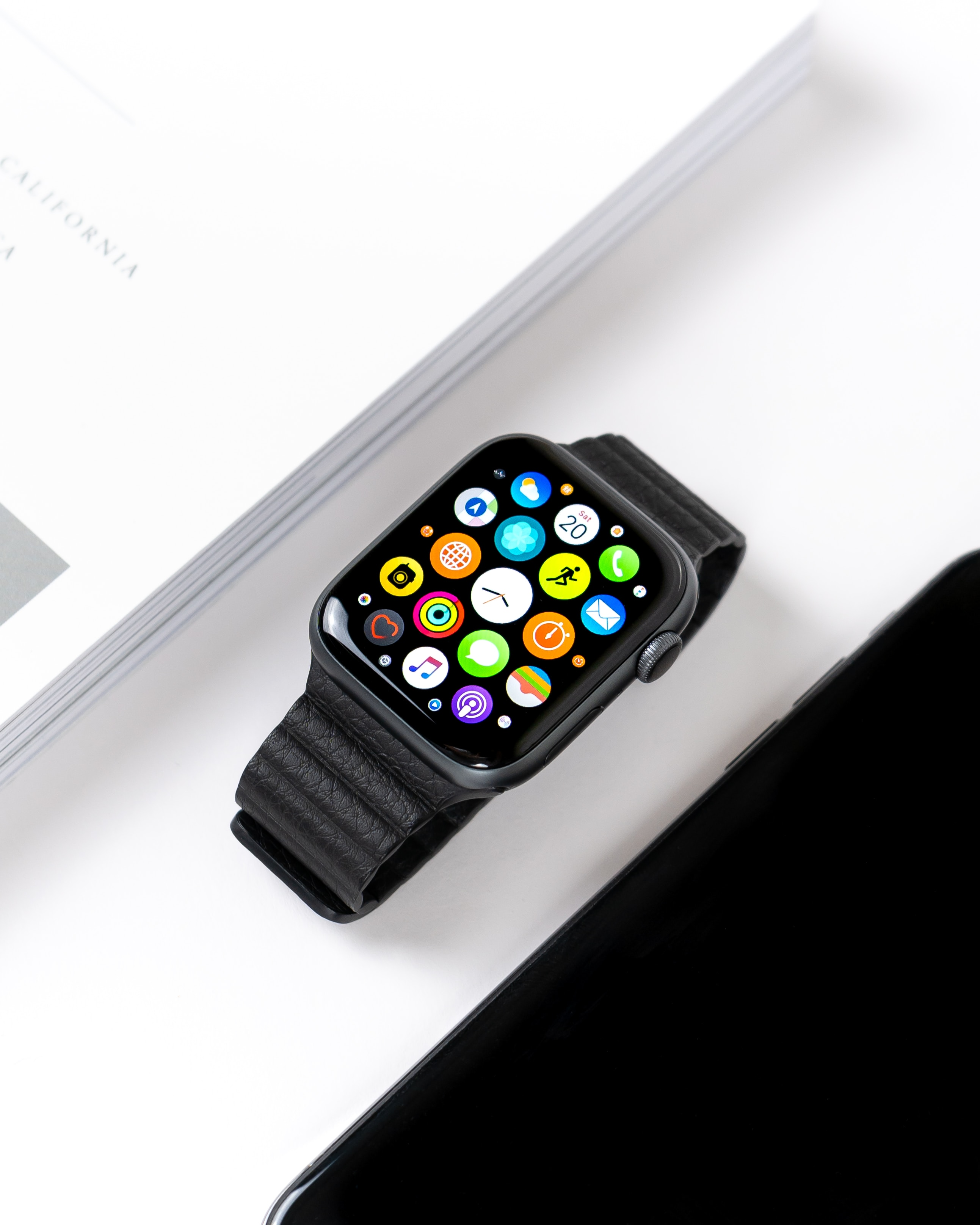 Photo of an Apple Watch with black strap