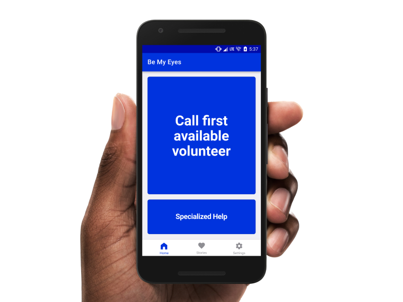 "Example of Be My Eyes home screen with message ""Call first available volunteer"""