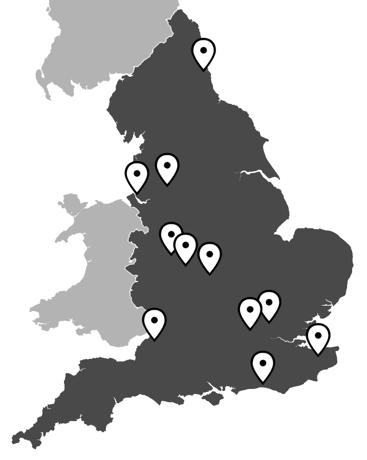 A map indicating where our DSA Centres are across the UK