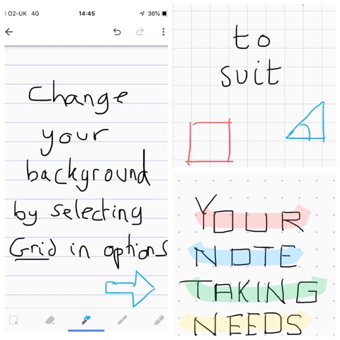 Screen shots of mobile phones showing how to change your background by selecting grid in options on Google Keep