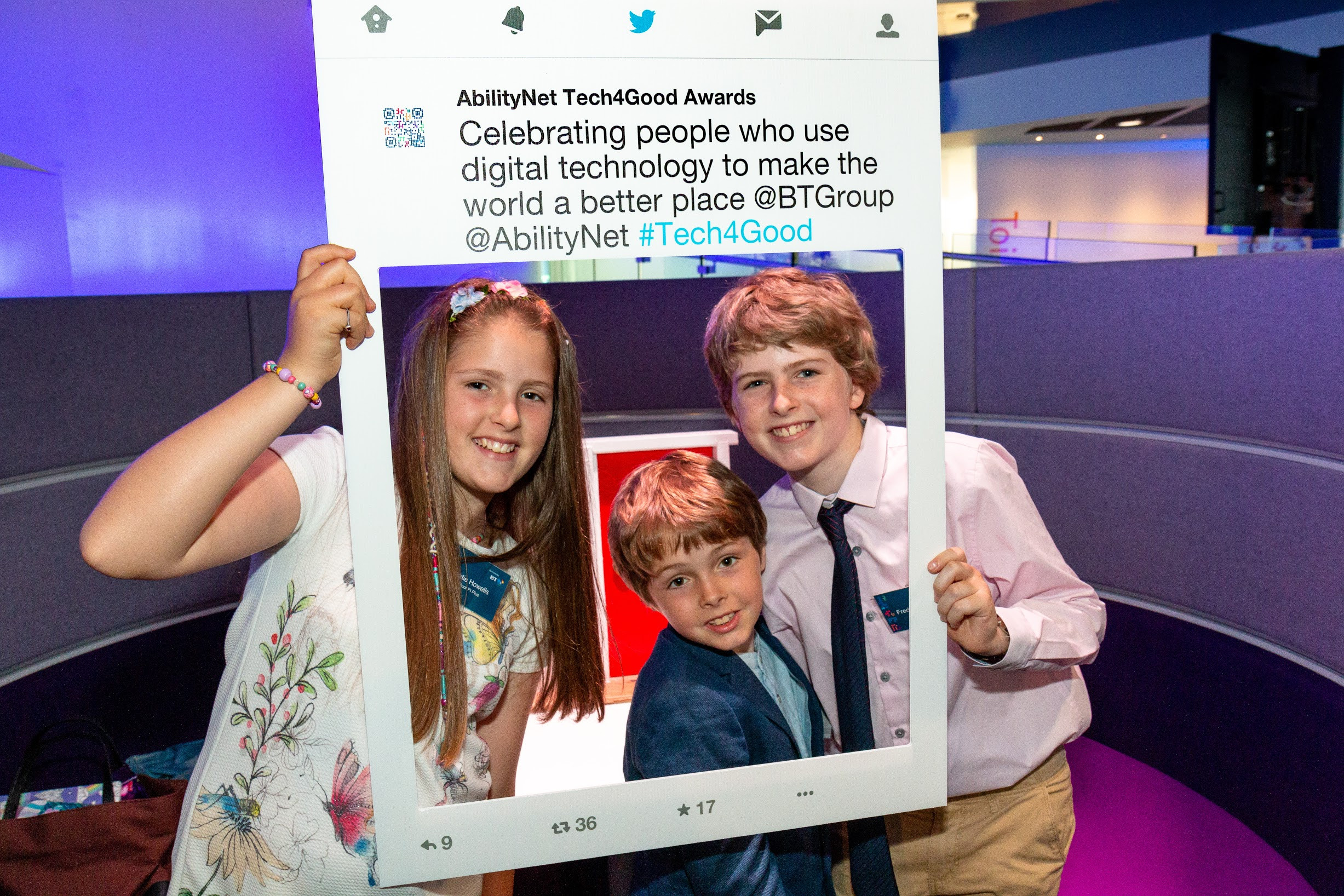 Freddie Howells and siblings wishing a 'selfie' frame at the Tech4Good Awards