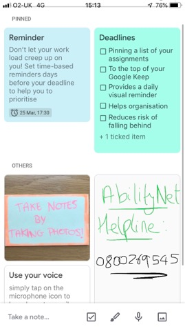 Screenshot of Google Keep in use on a mobile phone with reminder list, deadlines and photos