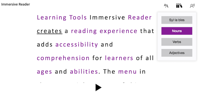 Example of OneNote Immersive Reader with some words and group of words highlighted in a different colour
