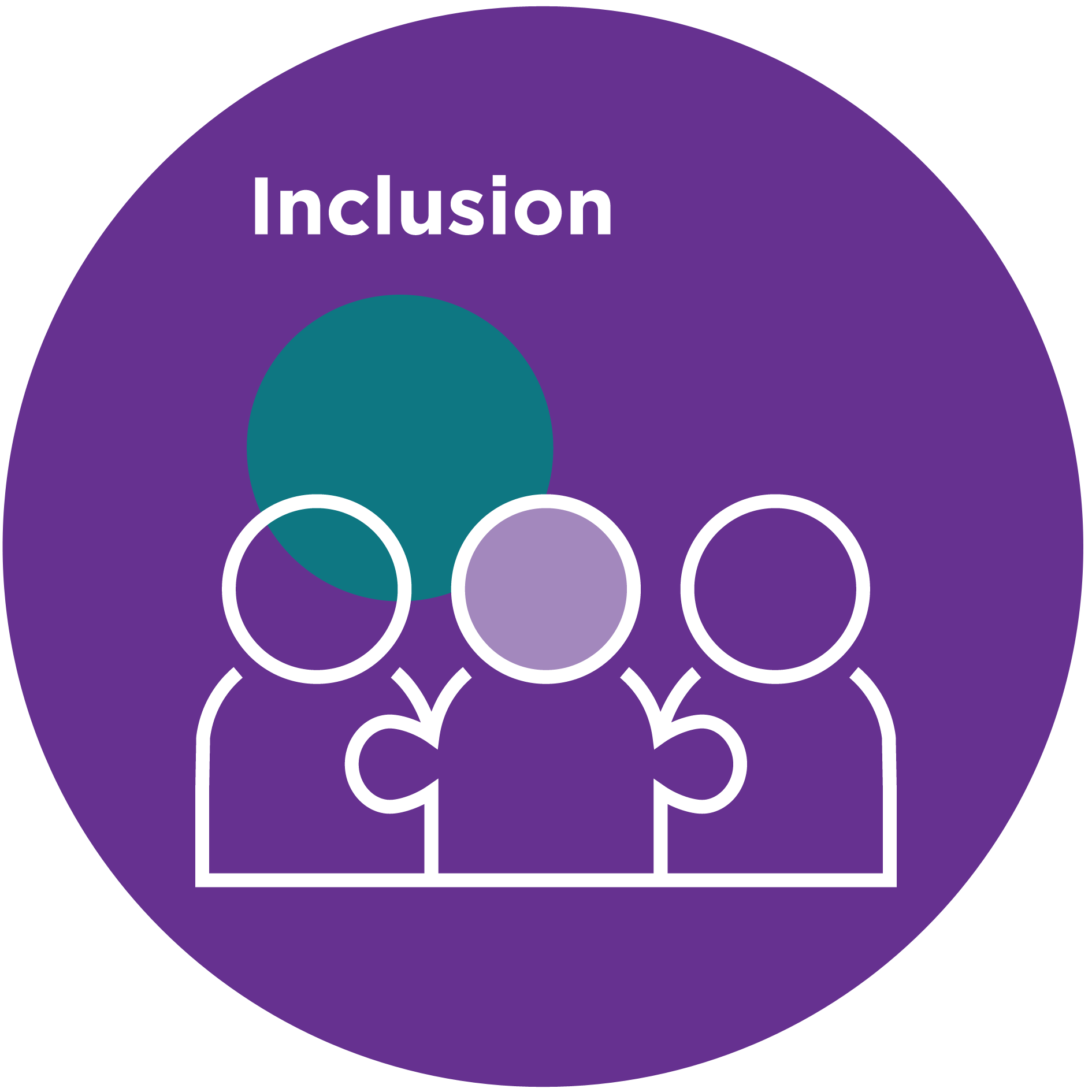 Icon of a group of people with text that reads 'Inclusion'