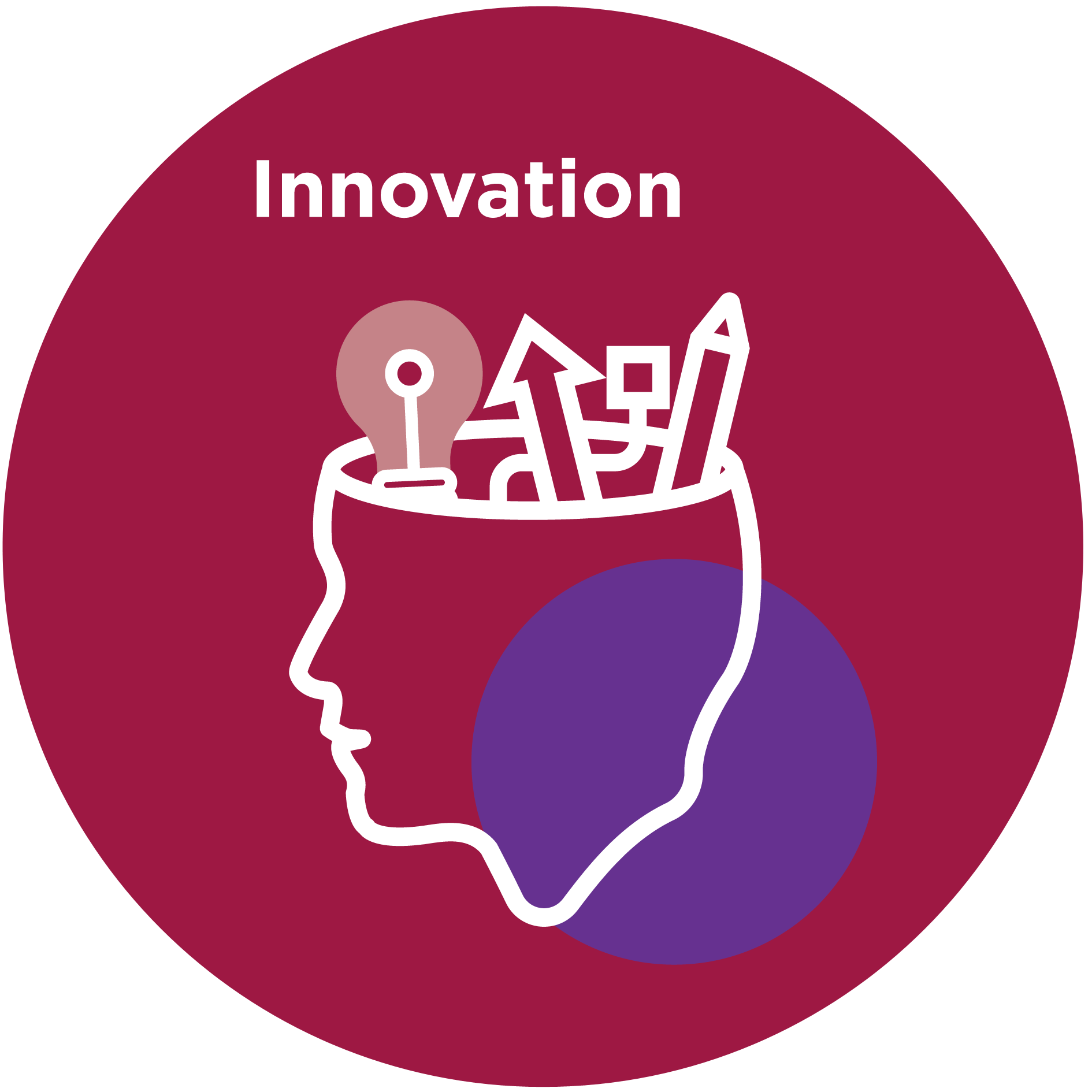 Icon of a head with a light bulb with text that reads 'Innovation'