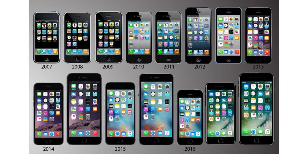 Display of the different iphone models from 2007