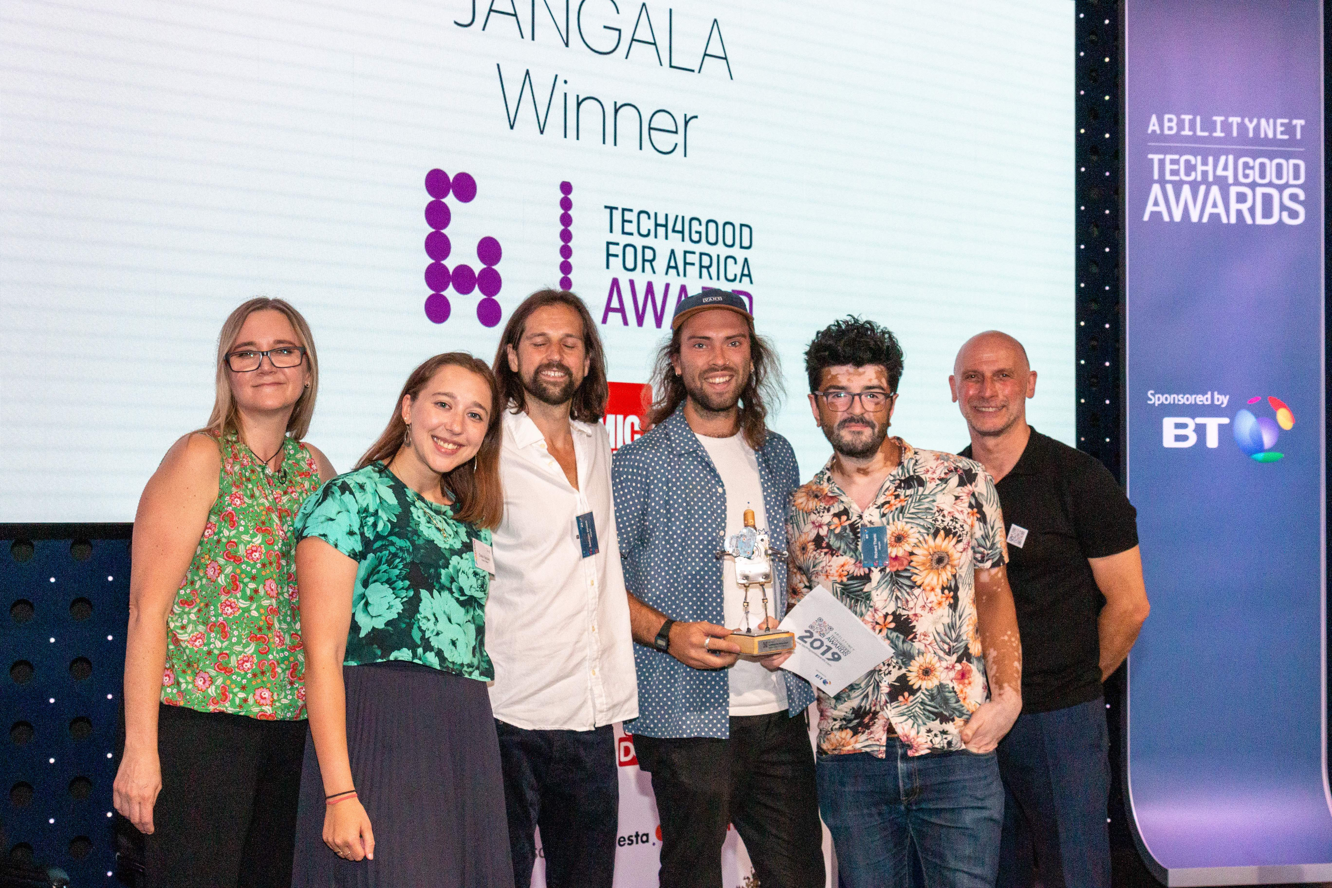 Image shows Jangala receiving its Tech4Good Award at the 2019 ceremony