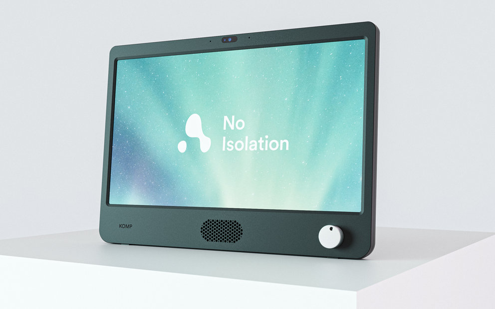 A picture of the KOMP Screen with the No Isolation Logo on it. There is a 'knob' or dial on the right-hand side of the device.