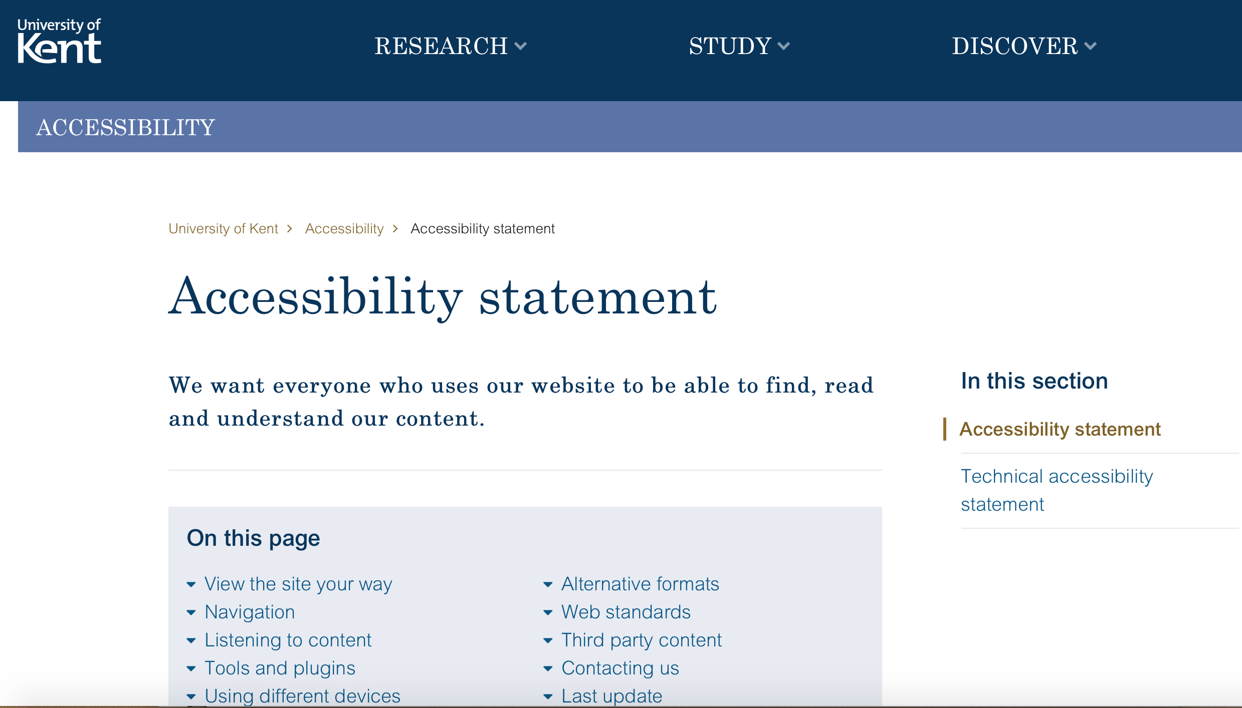 Uni of Kent accessibility statement: information on navigation, listening to content and accessible formats