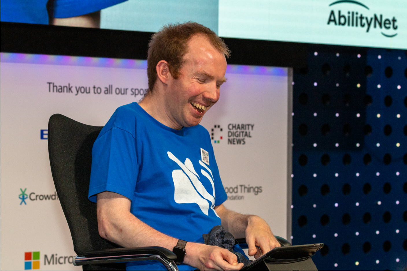 Colour photo of Lost Voice Guy at Tech4Good Awards 2019