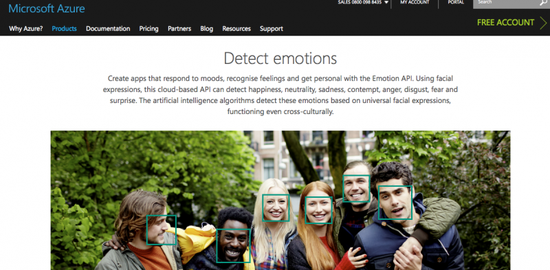 Microsoft Azure emotion detection software