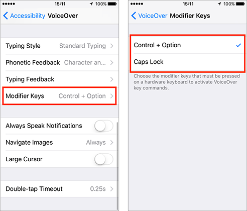 Iphone accessibility voice over and modifier keys menus