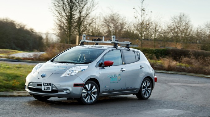 Colour photo of the Nissan Leaf car out on the road