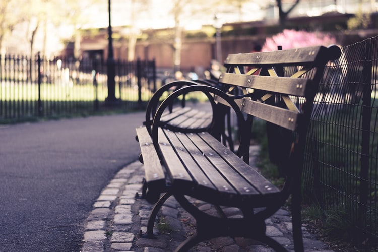 Photo of a bench in a park