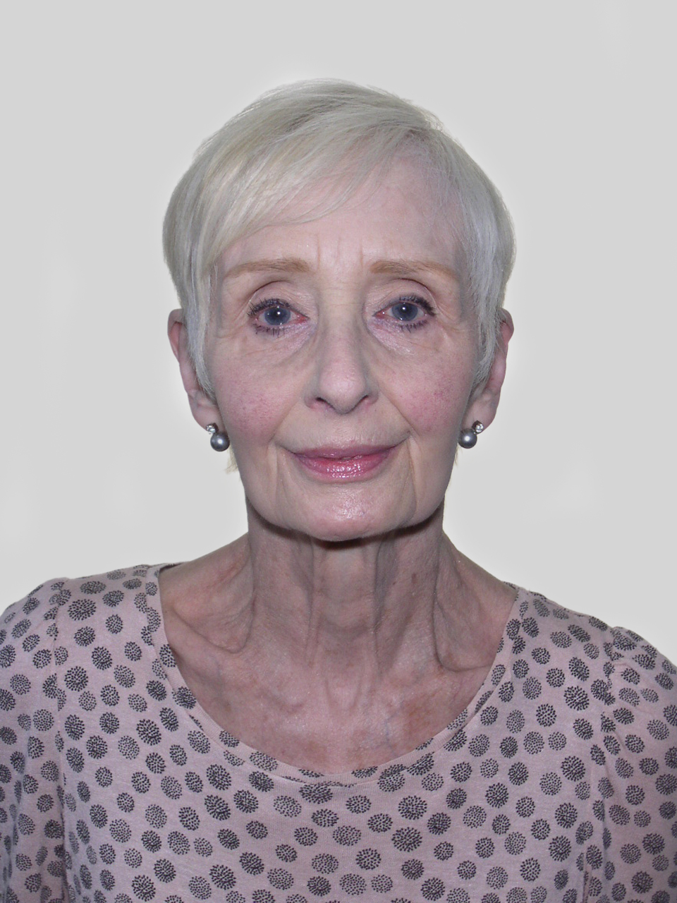 A picture of Rosaleen who has cropped, grey hair