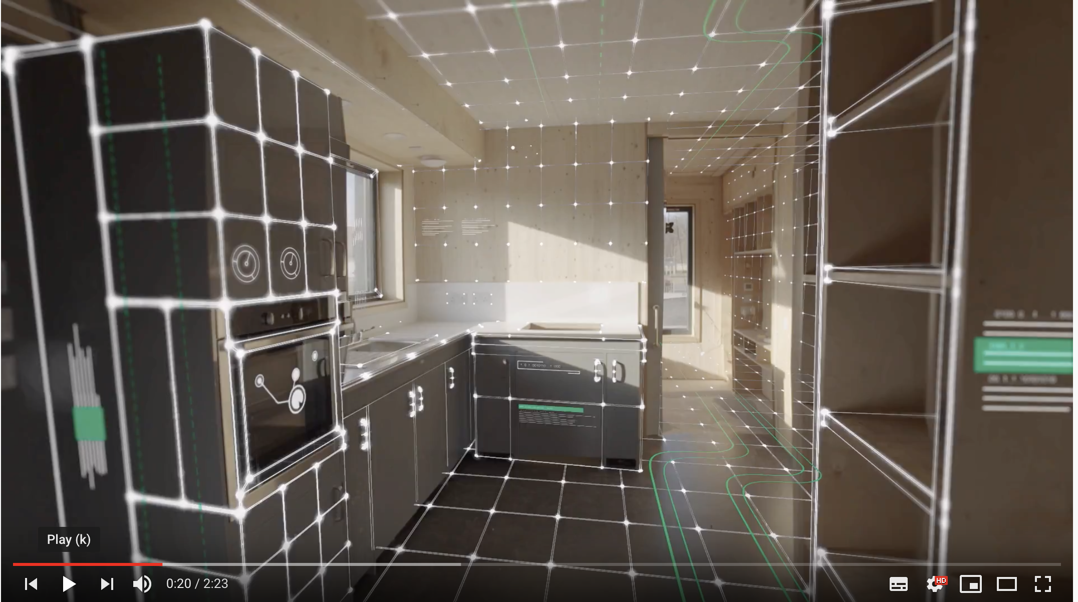Picture of a kitchen with lines overlaid to indicate smart sensors
