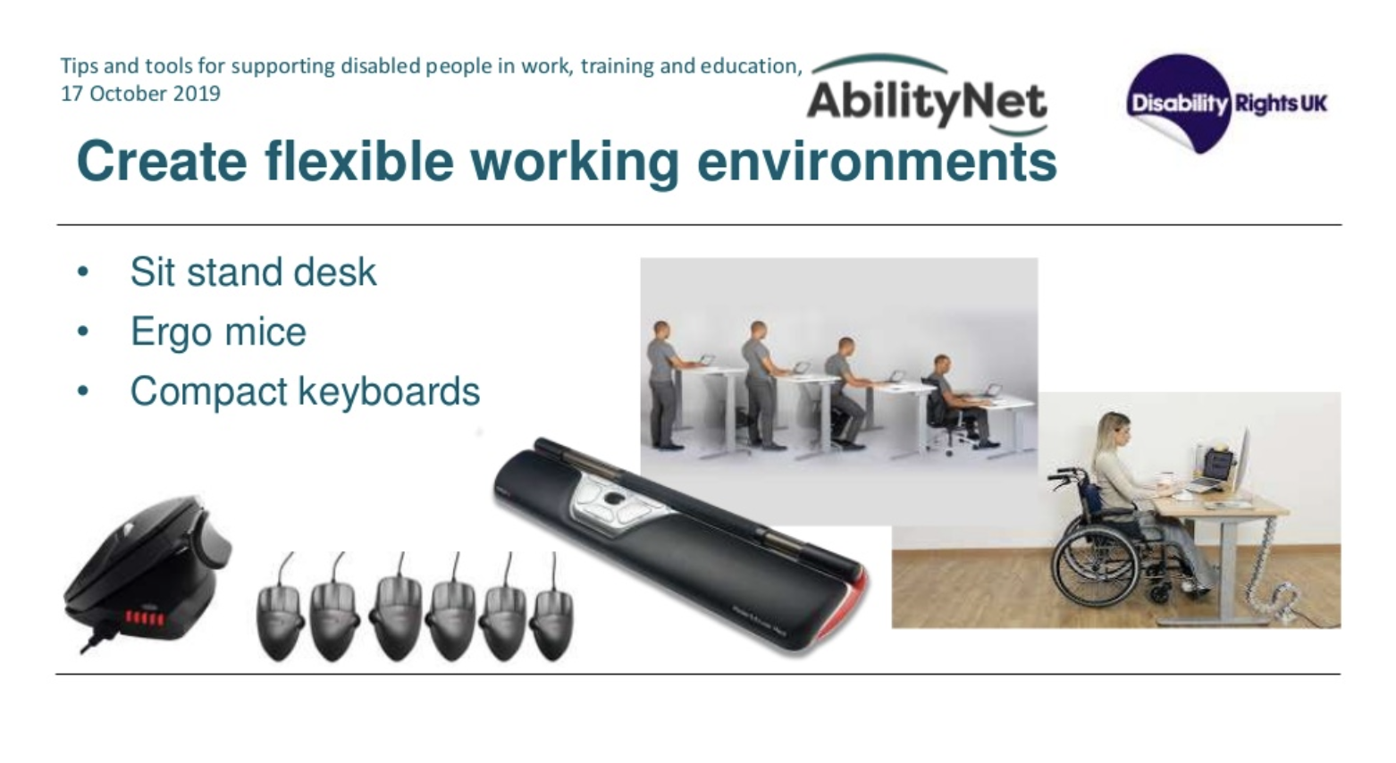 Screenshot of slide from webinar about tools to help disabled people in work and education