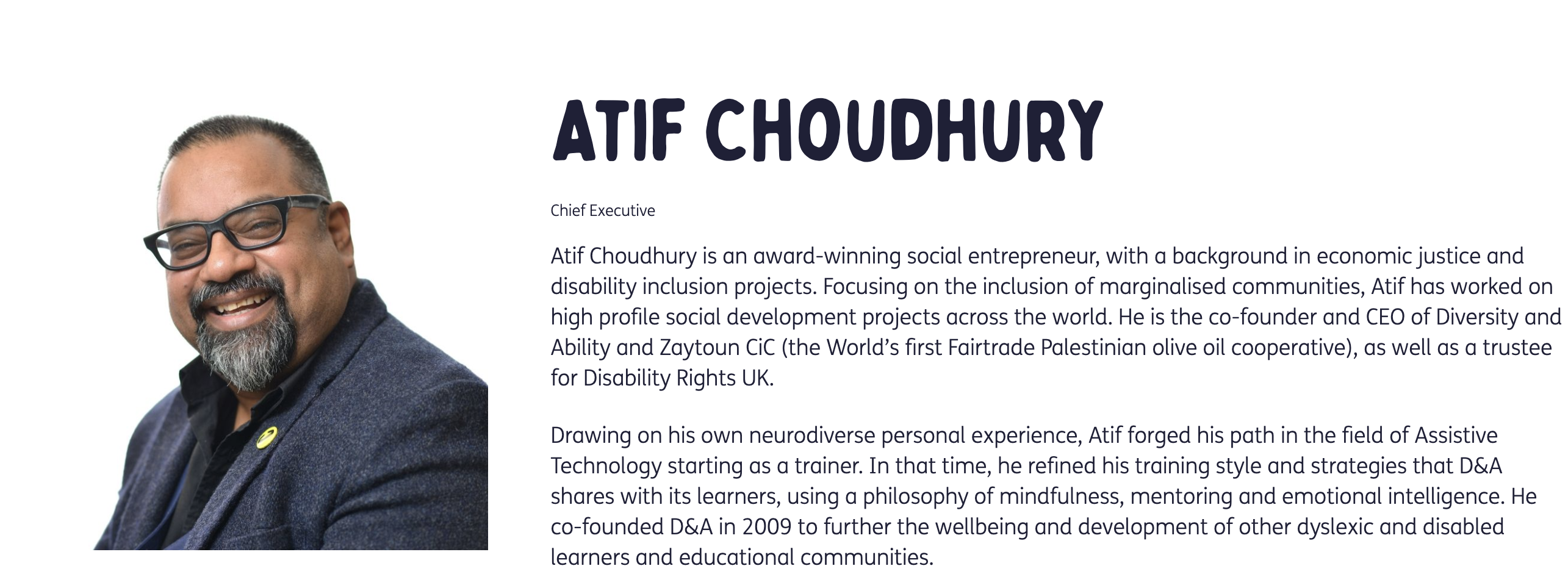 A picture of Atif and his biography from the D&A website