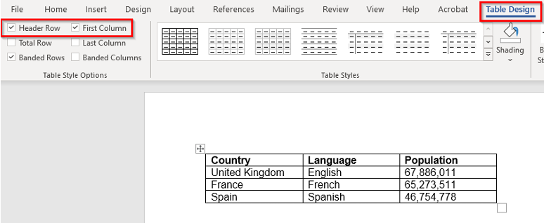 A simple table in Word with the Header Row and First Column indicated in the Table Design tab