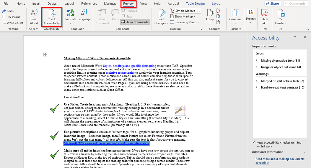 The accessibility checker in Word accessed from the Review tab, showing errors and warnings for a document