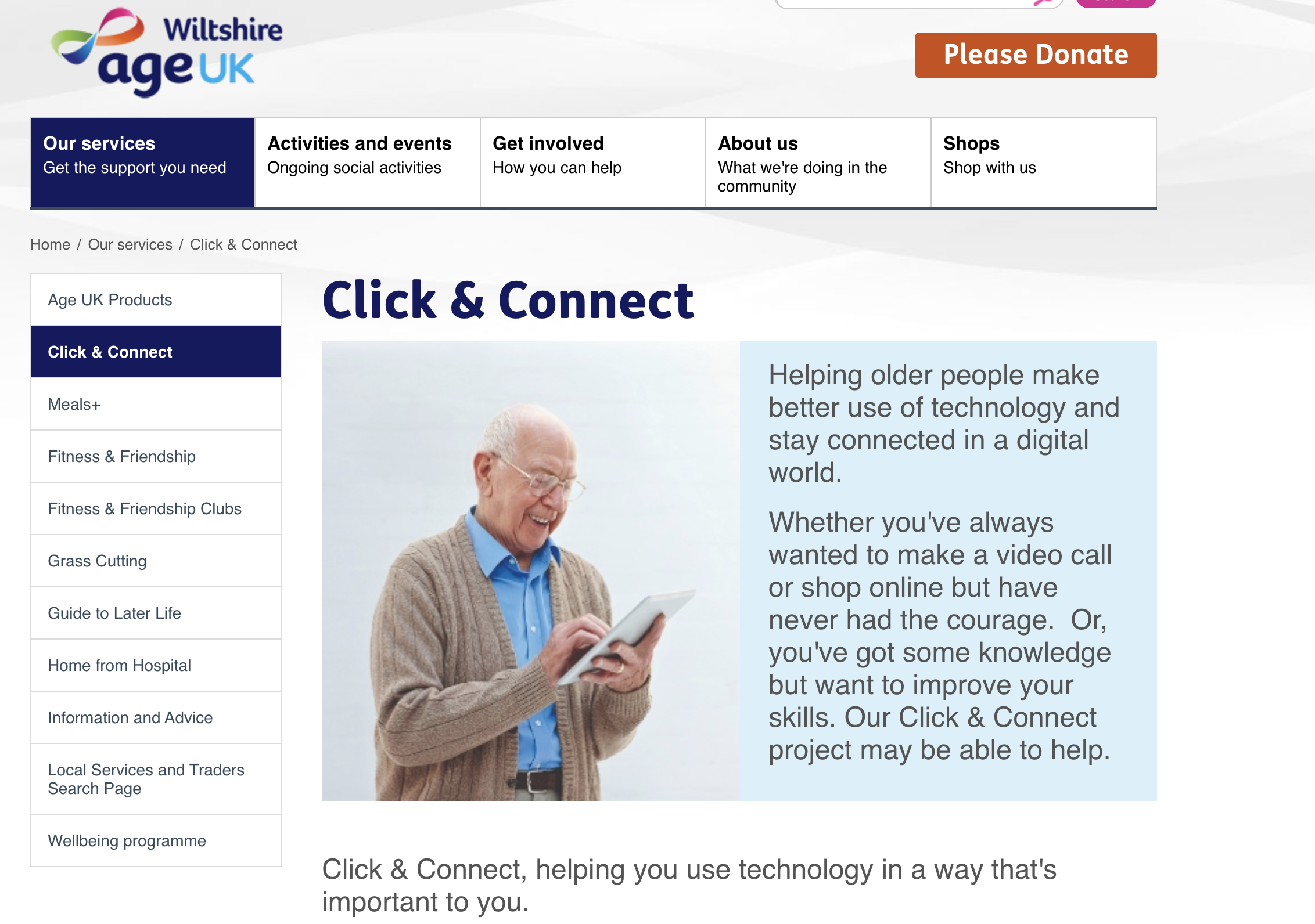 Image shows home page for the Click and Connect project and has a picture of an older gentleman holding a tablet