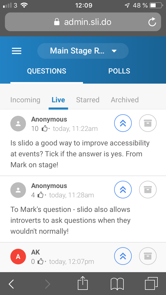 Screen shot of mobile phone showing Slido app questions from Techshare Pro audience to the  main stage