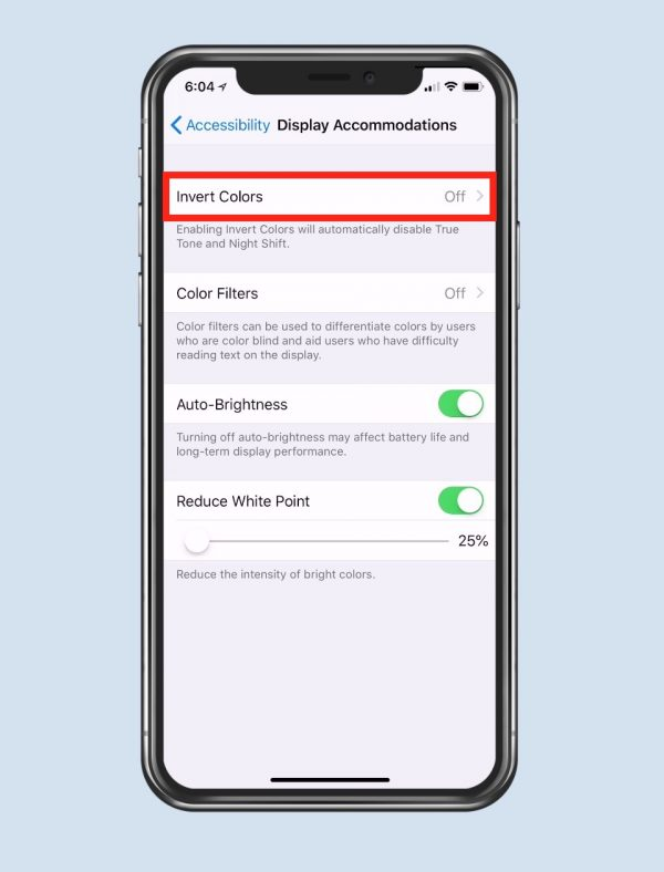 Iphone screen showing Invert Colors option in iOS accessibility settings