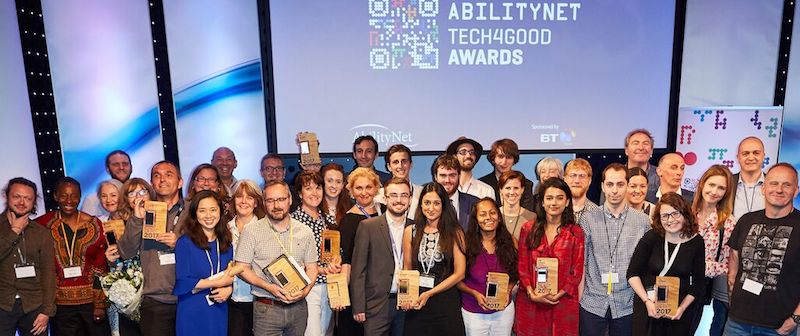Winners and judges at the AbilityNet Tech4Good Awards 2017