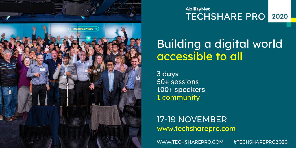 Group of people at TechShare Pro event waving - banner saying Building a digital world accessible to all. www.techsharepro.com
