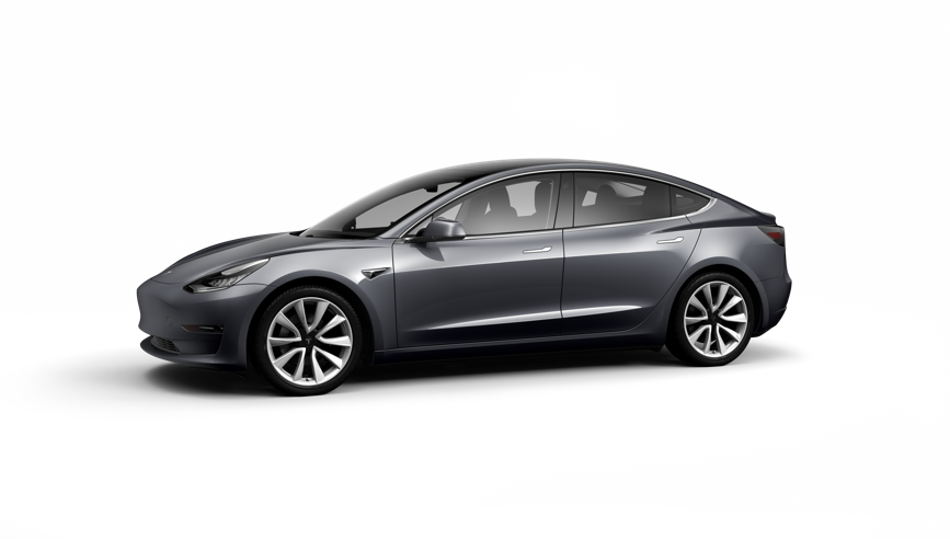 Photo of dark grey Tesla Model 3
