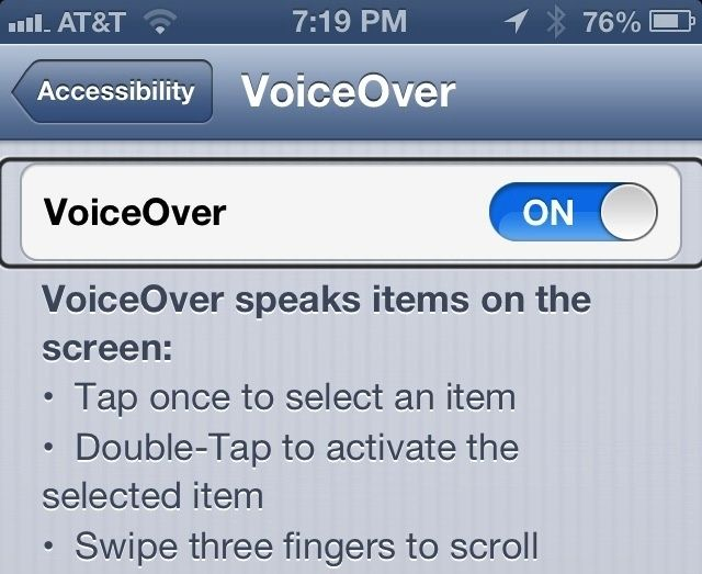Accessibility menu - voiceover section on iPhone