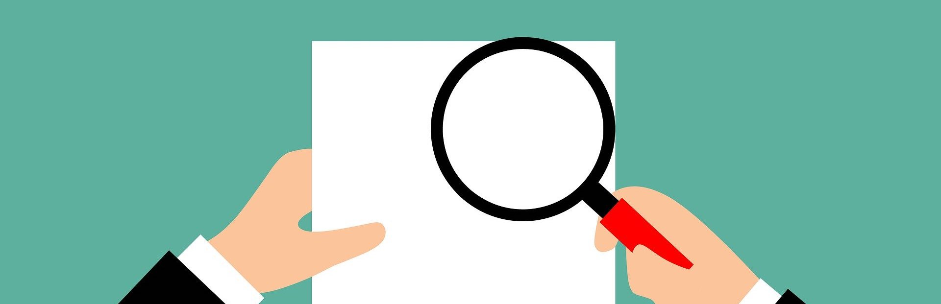 An illustration of a person using a magnifying glass to inspect a document