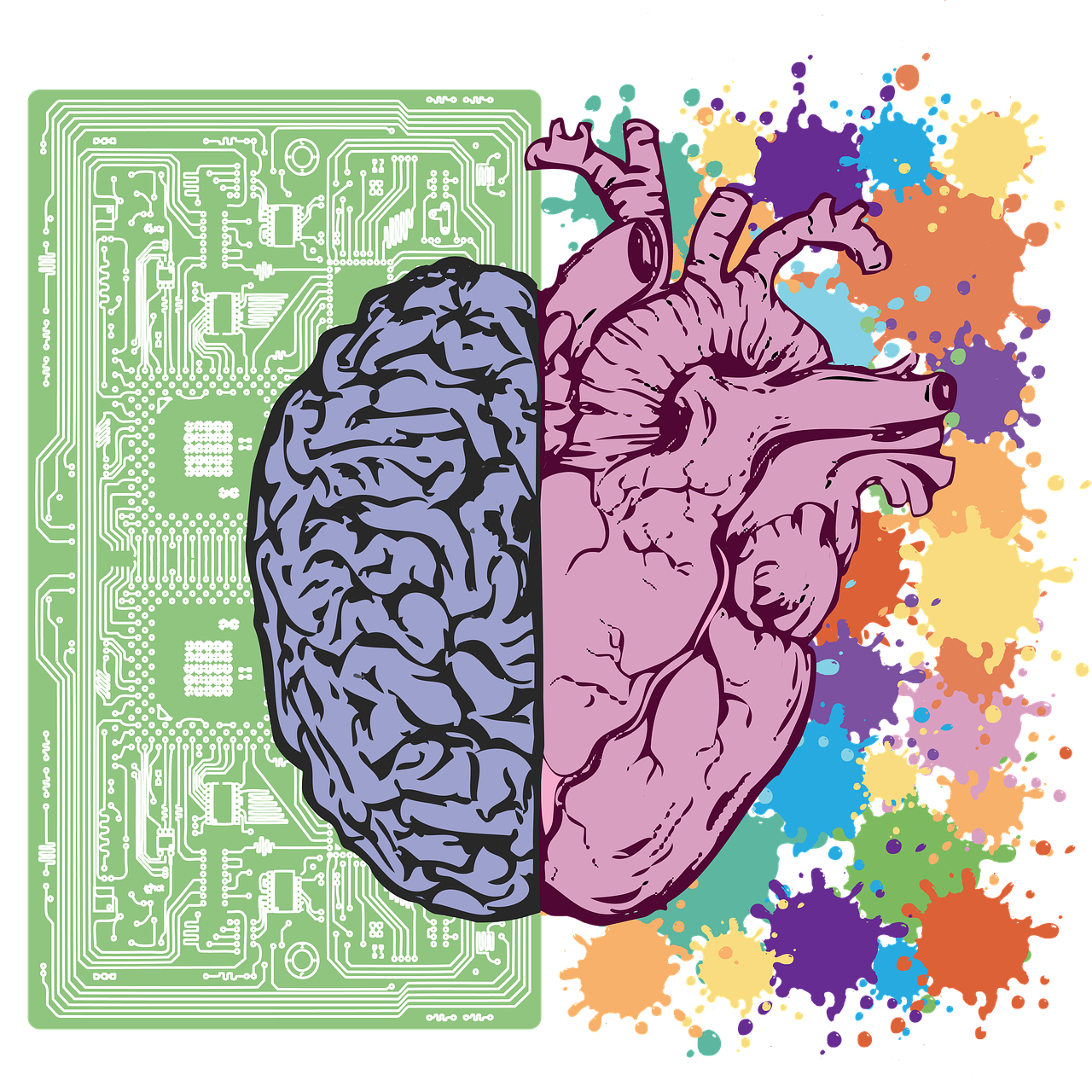 Picture of an illustrated brain with a computer motherboard behind it