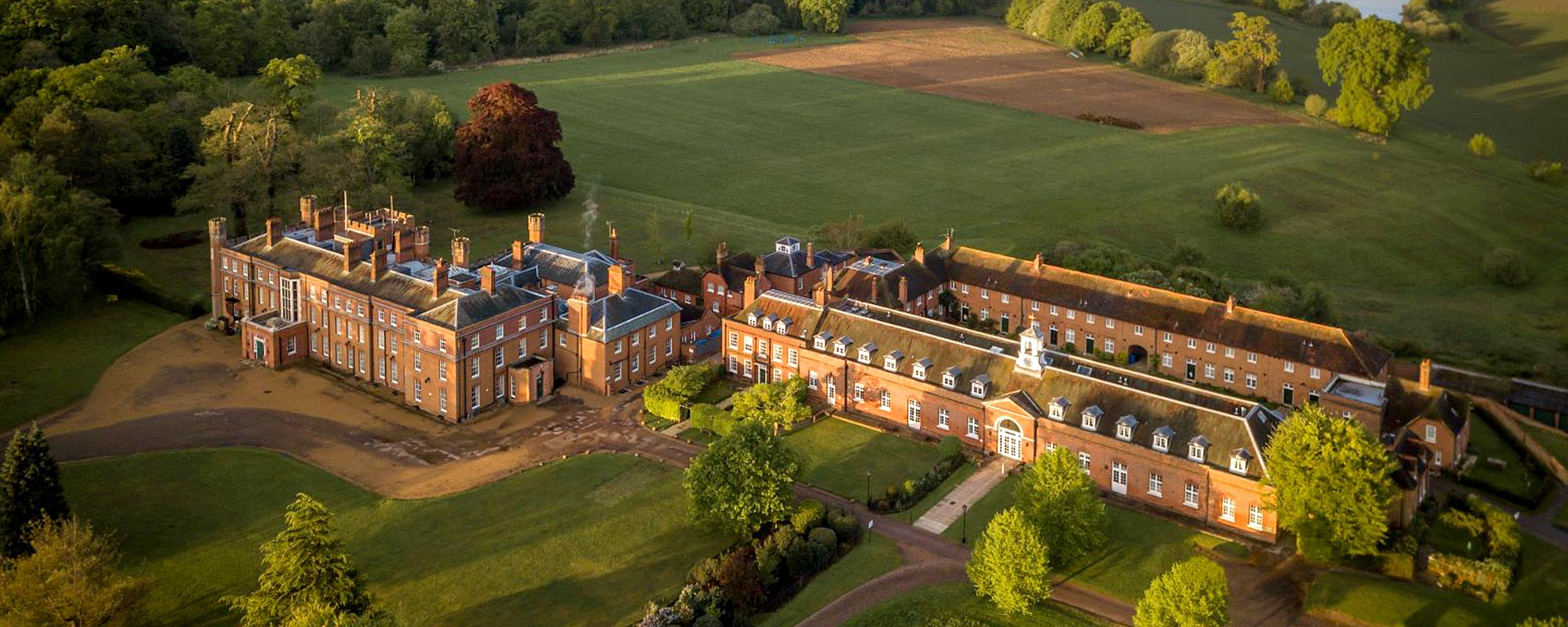 Aerial shot of Cumberland Lodge building and grounds