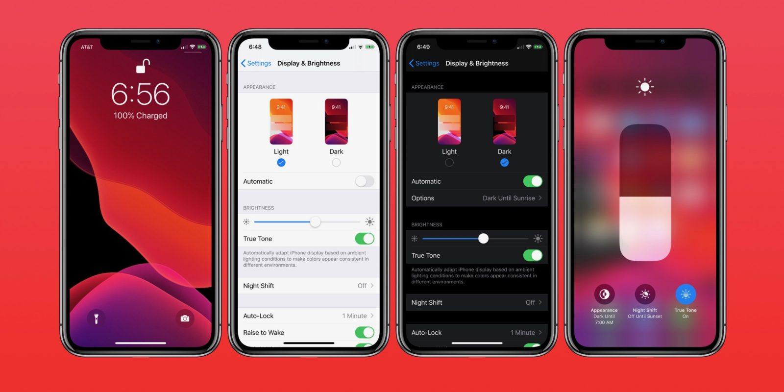 4 iphone screens showing the dark mode option
