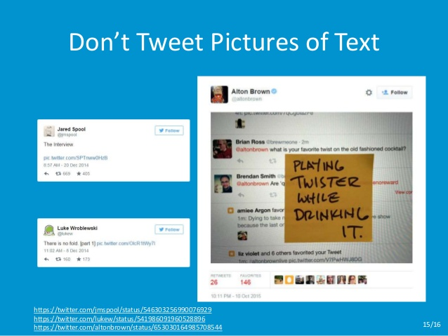 Don't tweet pictures of text! slide from presentation about accessible social media