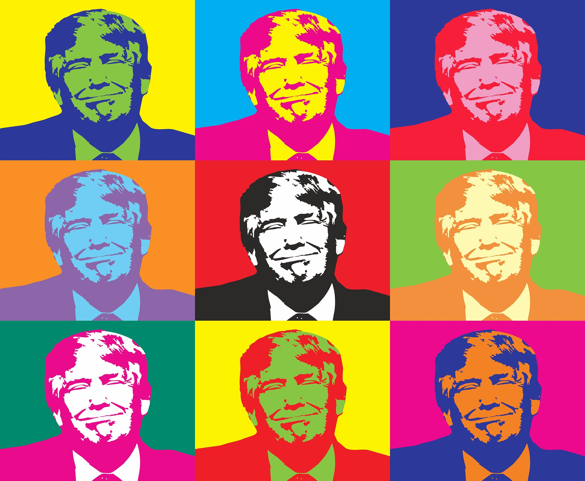 A series of images of former US president Donald Trump in the style of Andy Warhol